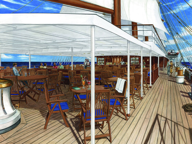Sea Cloud Spirit Oberdeck Bar
